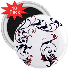 Scroll Border Swirls Abstract 3  Magnets (10 Pack)