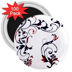 Scroll Border Swirls Abstract 3  Magnets (100 Pack)