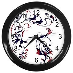 Scroll Border Swirls Abstract Wall Clocks (black)