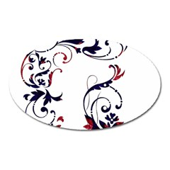 Scroll Border Swirls Abstract Oval Magnet