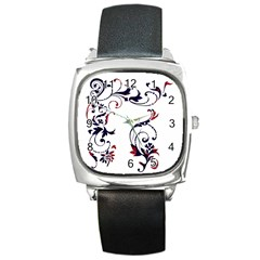 Scroll Border Swirls Abstract Square Metal Watch