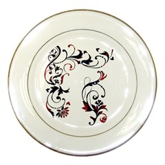 Scroll Border Swirls Abstract Porcelain Plates