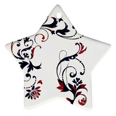 Scroll Border Swirls Abstract Star Ornament (Two Sides)