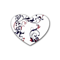 Scroll Border Swirls Abstract Heart Coaster (4 pack)