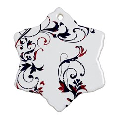 Scroll Border Swirls Abstract Snowflake Ornament (two Sides)