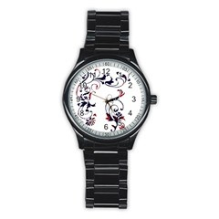Scroll Border Swirls Abstract Stainless Steel Round Watch