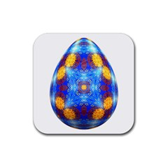 Easter Eggs Egg Blue Yellow Rubber Coaster (square)