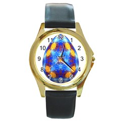 Easter Eggs Egg Blue Yellow Round Gold Metal Watch