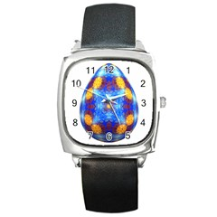 Easter Eggs Egg Blue Yellow Square Metal Watch