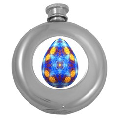 Easter Eggs Egg Blue Yellow Round Hip Flask (5 Oz)