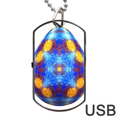 Easter Eggs Egg Blue Yellow Dog Tag USB Flash (One Side)