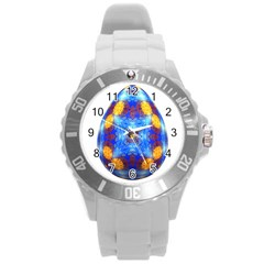 Easter Eggs Egg Blue Yellow Round Plastic Sport Watch (l)