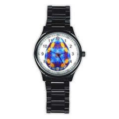 Easter Eggs Egg Blue Yellow Stainless Steel Round Watch