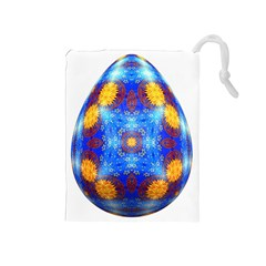 Easter Eggs Egg Blue Yellow Drawstring Pouches (medium)
