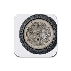 Clock Celtic Knot Time Celtic Knot Rubber Coaster (square)