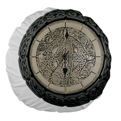 Clock Celtic Knot Time Celtic Knot Large 18  Premium Flano Round Cushions