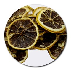 Lemon Dried Fruit Orange Isolated Round Mousepads