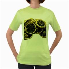 Lemon Dried Fruit Orange Isolated Women s Green T Shirt