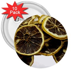 Lemon Dried Fruit Orange Isolated 3  Buttons (10 pack)