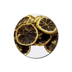 Lemon Dried Fruit Orange Isolated Rubber Round Coaster (4 Pack)