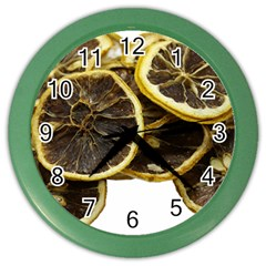 Lemon Dried Fruit Orange Isolated Color Wall Clocks