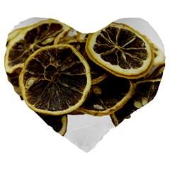 Lemon Dried Fruit Orange Isolated Large 19  Premium Heart Shape Cushions