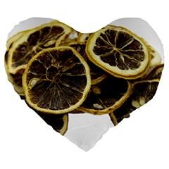 Lemon Dried Fruit Orange Isolated Large 19  Premium Flano Heart Shape Cushions
