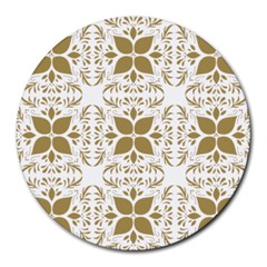 Pattern Gold Floral Texture Design Round Mousepads