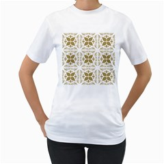 Pattern Gold Floral Texture Design Women s T Shirt (white) (two Sided)