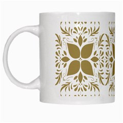 Pattern Gold Floral Texture Design White Mugs