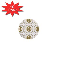 Pattern Gold Floral Texture Design 1  Mini Buttons (10 pack)
