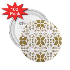 Pattern Gold Floral Texture Design 2.25  Buttons (100 pack)