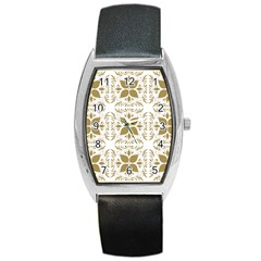 Pattern Gold Floral Texture Design Barrel Style Metal Watch