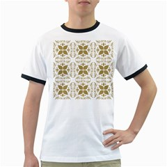 Pattern Gold Floral Texture Design Ringer T Shirts