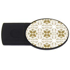 Pattern Gold Floral Texture Design Usb Flash Drive Oval (4 Gb)