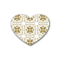 Pattern Gold Floral Texture Design Heart Coaster (4 pack)
