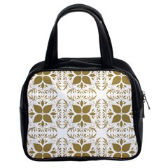 Pattern Gold Floral Texture Design Classic Handbags (2 Sides)