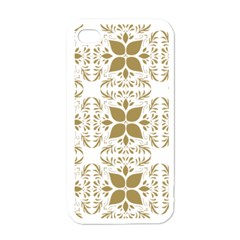 Pattern Gold Floral Texture Design Apple iPhone 4 Case (White)