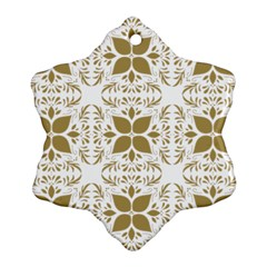 Pattern Gold Floral Texture Design Snowflake Ornament (two Sides)
