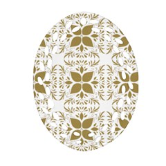 Pattern Gold Floral Texture Design Oval Filigree Ornament (Two Sides)