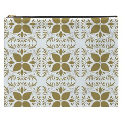 Pattern Gold Floral Texture Design Cosmetic Bag (xxxl)