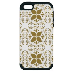 Pattern Gold Floral Texture Design Apple Iphone 5 Hardshell Case (pc+silicone)