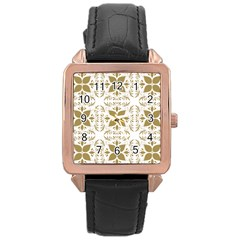 Pattern Gold Floral Texture Design Rose Gold Leather Watch