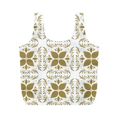 Pattern Gold Floral Texture Design Full Print Recycle Bags (m)