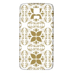 Pattern Gold Floral Texture Design Samsung Galaxy S5 Back Case (White)