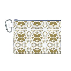 Pattern Gold Floral Texture Design Canvas Cosmetic Bag (m)