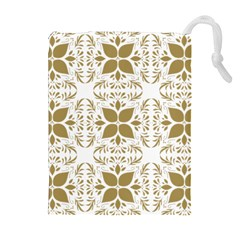 Pattern Gold Floral Texture Design Drawstring Pouches (Extra Large)