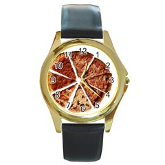 Food Fast Pizza Fast Food Round Gold Metal Watch