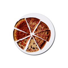 Food Fast Pizza Fast Food Rubber Round Coaster (4 Pack)