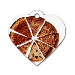 Food Fast Pizza Fast Food Dog Tag Heart (Two Sides)